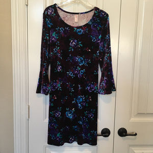 Justice Velvet Burgundy Floral Bell Sleeve Dress
